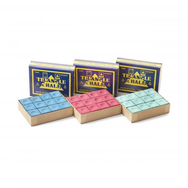 Triangle Cue Chalk 12 Pack - Available in Green Blue & Red